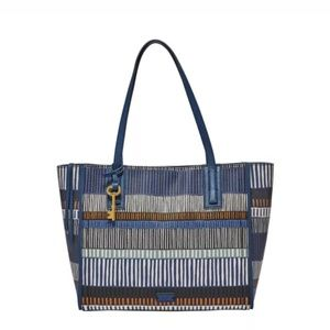 Fossil Emma tote bag purse blue print LKN
